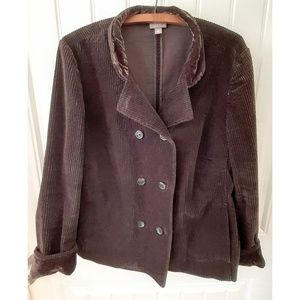 J Jill XL Brown Corduroy and Velvet Jacket NWOTs